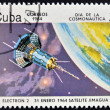 Stock Photo: CUB- CIRC1984: stamp printed in Cubshows space ship, Satilite Electron II, circ1984.