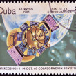 CUBA - CIRCA 1984: A stamp printed in the Cuba shows the rocket, Intercosmos 1, Soviet cooperation, circa 1984. — Stock Photo