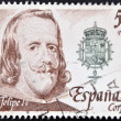 SPAIN - CIRCA 1979: A stamp printed in spain shows the portrait of King Philip IV of Spain, circa 1979 — Stock Photo