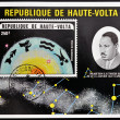 REPUBLIC OF UPPER VOLTA, BURKINA FASO - CIRCA 1974: A stamp printed in Republic of Upper Volta showsMartin Luther King and the constellation of Capricorn, circa 1974 — Stock Photo