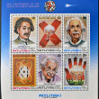 Foto de Stock  : AITUTAKI (ARAURA), CIRC1980: Collection stamps printed in Cook Islands in honor of MathematiciPhysicist Nobel Prize Winner Albert Einstein, circ1980