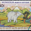 Royalty-Free Stock Photo: MONGOLIA - CIRCA 1984: A stamp printed in Mongolia shows white elephant, circa 1984