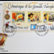 Stock Photo: FRANCE - CIRC1992: stamp printed in new Caledonidedicated to Americand great navigators, shows Erik Red, Christopher Columbus and Amerigo Vespucci, circ1992