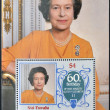 Stock Photo: NUI - TUVALU - CIRC1986: stamp printed in Nui - Tuvalu shows Her Majesty Queen Elizabeth II, sixtieth birthday, circ1986