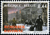 BELGIUM - CIRCA 2004: A stamp printed in Belgium shows the siege of the city of Bastogne in World War II in 1944, circa 2004 — Stock Photo
