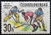 CZECHOSLOVAKIA - CIRCA 1978: A Stamp printed in Czechoslovakia shows image of Hockey, circa 1978 — Zdjęcie stockowe