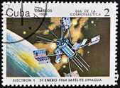 CUBA - CIRCA 1984: An airmail stamp printed in Cuba shows a space ship, satellite Jimagua, circa 1984. — Zdjęcie stockowe