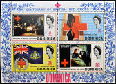 DOMINICA - CIRCA 1970: Collection stamps dedicated to centenary of the British Red Cross, circa 1970 — Stock fotografie