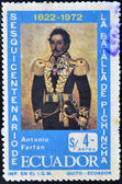 ECUADOR - CIRCA 1972: stamp printed in Ecuador, shows portrait of General Antonio Fafán, commemoration of the 150th anniversary of the Battle of Pichincha in 1822, circa 1972 — Stock Photo