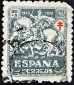 SPAIN - CIRCA 1945: A stamp printed in Spain shows a gentleman of the Crusades, circa 1945 — Stock Photo