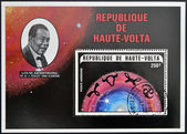REPUBLIC OF UPPER VOLTA, BURKINA FASO - CIRCA 1974: A stamp printed in Republic of Upper Volta shows Louis Armstrong and the constellation of Cancer, circa 1974 — Stock Photo
