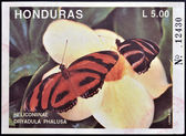 HONDURAS - CIRCA 1992: A stamp printed in Honduras shows butterfly, Heliconiinae Dryadula Phalusa, circa 1992 — Stock Photo
