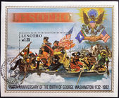 LESOTHO - CIRCA 1982: A stamp printed in Lesotho commemorating the 250 anniversary of the birth of George Washington, circa 1982 — Stock Photo