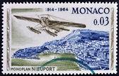 Monaco - circa 1964 : timbre imprimé à monaco, montre monoplan nieuport, vers 1964 — Photo