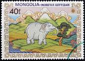 MONGOLIA - CIRCA 1984: A stamp printed in Mongolia shows white elephant, circa 1984 — Stock Photo