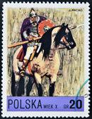 1972 年頃 - ポーランド: ポーランドの馬に乗って、ポーランド語に専用の印刷スタンプに示しますライダー (10 世紀)、1972 年頃 — ストック写真