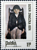 POLAND - CIRCA 1974: A Stamp printed in Poland shows children's portrait by artist Stanislav Wyspianski, circa 1974 — Stockfoto