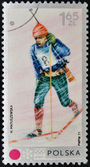 POLAND - CIRCA 1971: A stamp printed in Poland shows biathlon, circa 1971 — Stock Photo
