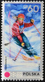 POLAND - CIRCA 1971: A stamp printed in Poland shows skiing, circa 1971 — Stock Photo