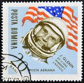 ROMANIA - CIRCA 1963: stamp printed in Romania, show astronaut, Glenn, circa 1963. — Stock Photo