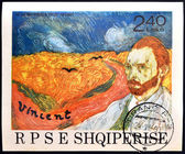 ALBANIA - CIRCA 1990: A stamp printed in Albania shows the work: Wheatfield with Crows and self-portrait of Vincent Van Gogh, circa 1990 — Foto Stock