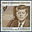 Stock Photo: CONGO - CIRC1964: stamp printed in Congo shows John F. Kennedy, circ1964