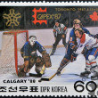 DPR KOREA - CIRCA 1987: A stamp printed in DPR KOREA (North Korea) shows Ice hockey, circa 1987 — Stock Photo