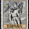 Royalty-Free Stock Photo: SPAIN - CIRCA 1912: A stamp printed in Spain shows draw by Alonso Cano Dead Christ Supported by an Angel, circa 1912