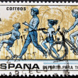 Stock Photo: SPAIN - CIRC1979: stamp printed in Spain shows Children kicking Ball and Skipping Rope, Jogging, and Bicycling, Sport for All, circ1979