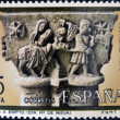 "Stock Photo: SPAIN - CIRCA1978: stamp printed in Spain from ""Christmas"" ,Gothic spire of flight into Egypt,in cloister of church of SantMarilReal de Nieva, Segovia, circ1978."