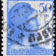 Stock Photo: SPAIN - CIRC1933: stamp printed in Spanish republic shows Allegory of Second Spanish Republic (MarianHispanic), circ1933