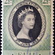 Stock Photo: FIJI - CIRC1953: stamp printed in Fiji shows queen Elisabeth II in commemoration of her coronation two on June 1953. circ1953