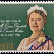 GIBRALTAR - CIRCA 1980: A stamp printed in Gibraltar shows portrait of the  Queen Elizabeth commemorates the 80th birthday of the Queen Mother, circa 1980 — Lizenzfreies Foto