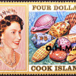 COOK ISLANDS - CIRCA 1974 : Stamp printed in Cook Islands shows Portrait of Queen Elizabeth II, with collection of shells, circa 1974 — Stock Photo