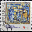 PORTUGAL - CIRC1979: stamp printed in Portugal in Tile Museum Lisbon, set of tiles depicting Holy Family, 1630, CasPide Lisboa, circ1979. — Stock Photo #11417990