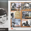 Stock Photo: PORTUGAL - CIRC1996: stamp printed in Portugal shows set of pictures of actors to commemorate centenary of cinemin Portugal, circ1996