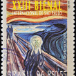 Постер, плакат: BRAZIL CIRCA 1996: A stamp printed in Brazil shows the 23 International Biennial of Sao Paulo The Scream by Edvard Munch work circa 1996