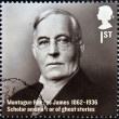 Stockfoto: UNITED KINGDOM - CIRC2012: stamp printed in Great Britain shows Montague Rhodes James, Scholar and author of ghost stories, circ2012