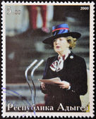 ABKHAZIA - CIRCA 2000 : Stamp printed in Abkhazia shows portrait Margaret Hilda Thatcher, Iron Lady, circa 2000 — Foto Stock
