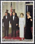 ABKHAZIA - CIRCA 2000 : Stamp printed in Abkhazia shows Charles of England, Ronald Reagan, Nancy Reagan and Diana of Wales, circa 2000 — Stock Photo