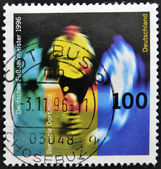 GERMANY - CIRCA 1996: A stamp printed in Germany shows to soccer champion in 1996, Borussia Dortmund, circa 1996 — Stock fotografie