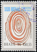 BRAZIL-CIRCA 1996: A stamp printed in Brazil shows the 23 International Biennial of Sao Paulo, painting of Louise Bourgeois,circa 1996 — Stock Photo
