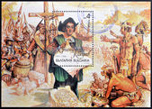 BULGARIA - CIRCA 1992: A stamp printed in Bulgaria shows Christopher Columbus in the New World, circa 1992 — Stock Photo