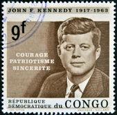 CONGO - CIRCA 1964: A stamp printed in Congo shows John F. Kennedy, circa 1964 — Stock Photo