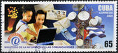 CUBA - CIRCA 2005: A stamp printed by CUBA shows to using computer, tower, mobile 5 th anniversary of theMinistry of computer and communica-tions, series, circa 2005 — Stock Photo