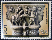 "SPAIN - CIRCA1978: A stamp printed in Spain from the ""Christmas"" ,Gothic spire of the flight into Egypt,in the cloister of church of Santa Maria la Real de Nieva, Segovia, circa 1978. — 图库照片"