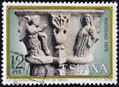 "SPAIN - CIRCA1978: A stamp printed in Spain from the ""Christmas"" ,Gothic spire of the annunciation,in the cloister of church of Santa Maria la Real de Nieva, Segovia, circa 1978. — 图库照片"