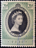 FIJI - CIRCA 1953: A stamp printed in Fiji shows queen Elisabeth II in commemoration of her coronation the two on June 1953. circa 1953 — Stock Photo