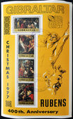 GIBRALTAR - CIRCA 1997: A stamp printed in Gibraltar,shows to 400 commemoration of the birth of Ruben, Christmas 1997, circa1997 — Stock Photo
