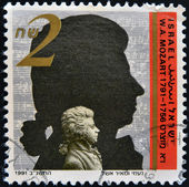 ISRAEL - CIRCA 1991: A stamp printed in Israel shows Wolfgang Amadeus Mozart, circa 1991 — Stock Photo
